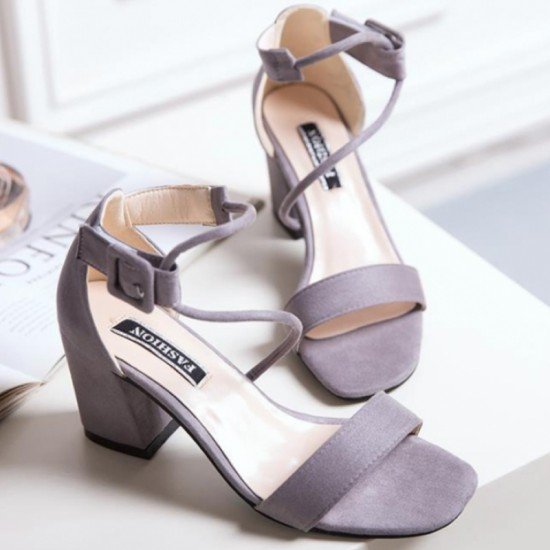 Female Summer Open Toe With High Thick Heel sandals-Purple image