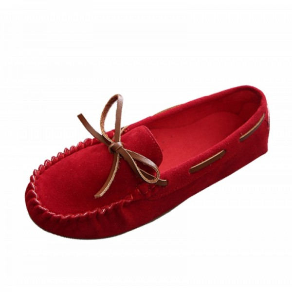 Red Color Suede Matte Comfortable Loafer Women Flats image
