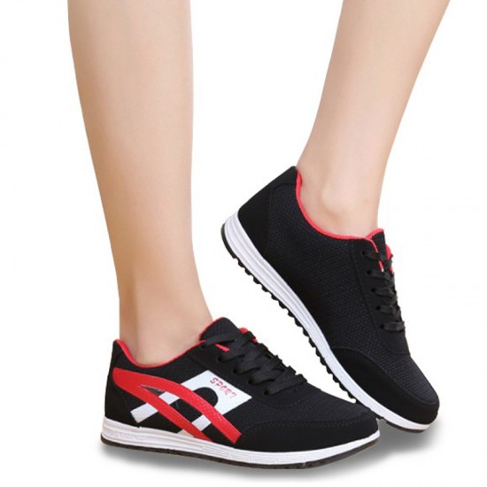 Women Fashion Breathable Running Sports Shoes-Black image