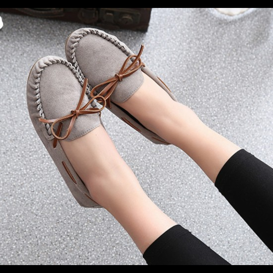 Suede Matte Comfortable Loafer Women Flats-Grey image