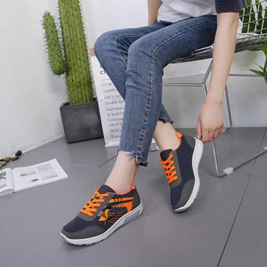 Grey with Orange Pattern Jogging Sports & Running Shoes For Women-Grey image