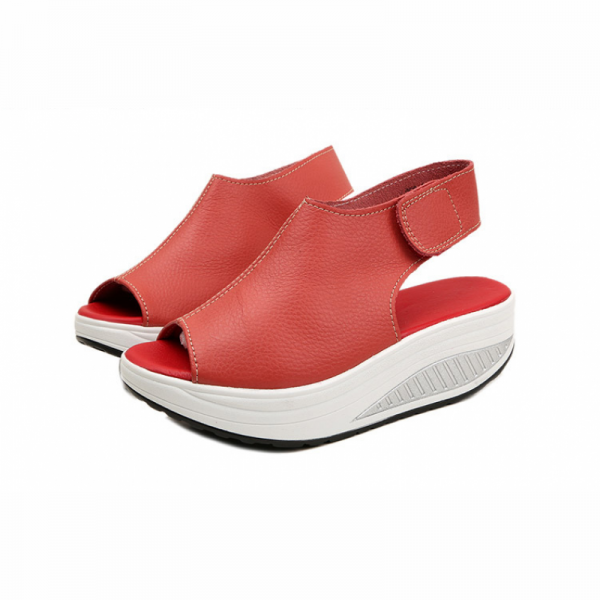 Women Light Weight Red High Heel Leather Sandals image