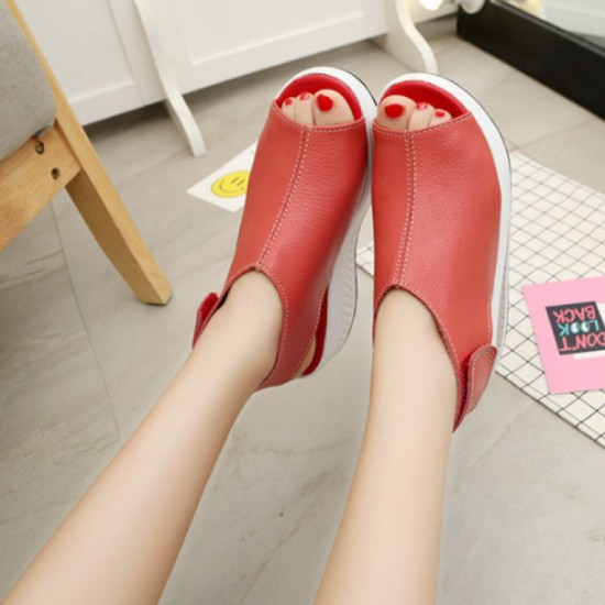 Women Light Weight High Heel Leather Sandals-Red image