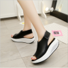 Women Light Weight Black High Heel Leather Sandals image