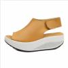 Women Light Weight Orange High Heel Leather Sandals image