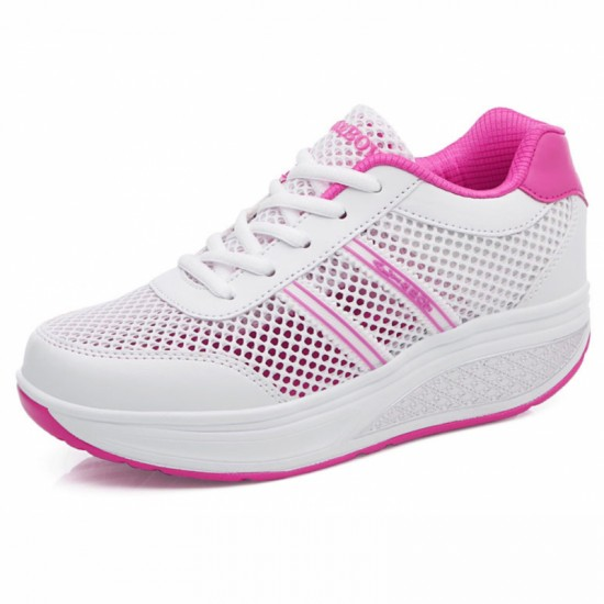 Women Breathable Thick Bottom Light Weight Soft Running Sports Shoes-White image