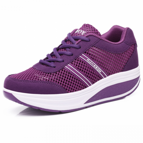 Women Breathable Thick Bottom Light Weight Soft Running Sports Shoes-Purple image