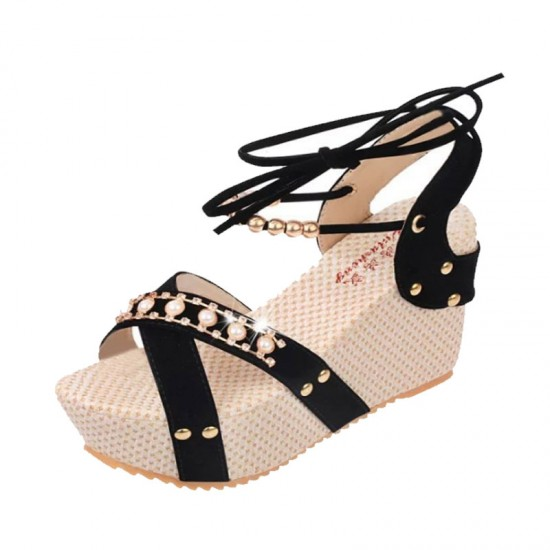 Women Fashion Thick Crust High Wedge Sandals-Black image