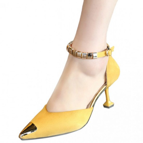 European Style Pointed Hollow Word Buckle Heels Sandals-Yellow image