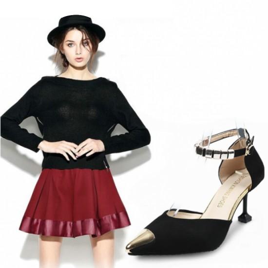 European Style Pointed Hollow Word Buckle Heels Sandals-Black image