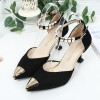 European Fashion Pointed Hollow Word Buckle Black Heels Sandals image