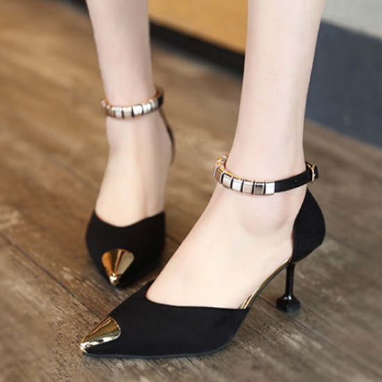 European Style Pointed Hollow Word Buckle Heels Sandals-Black image