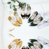 European Fashion Pointed Hollow Word Buckle Green Heels Sandals image