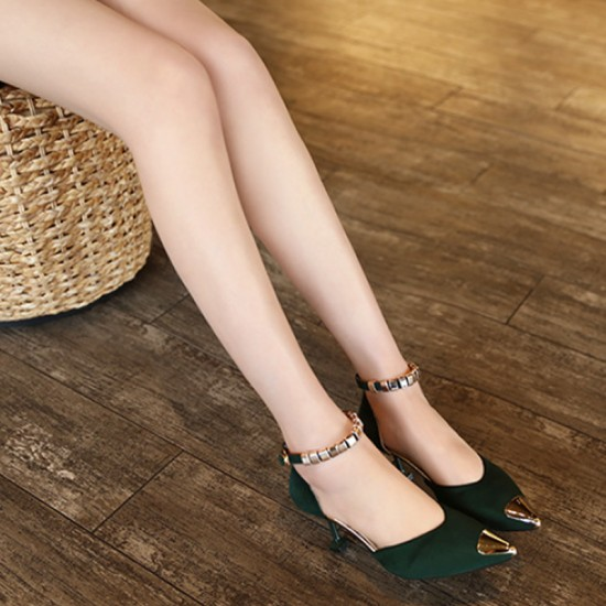 European Style Pointed Hollow Word Buckle Heels Sandals-Green image