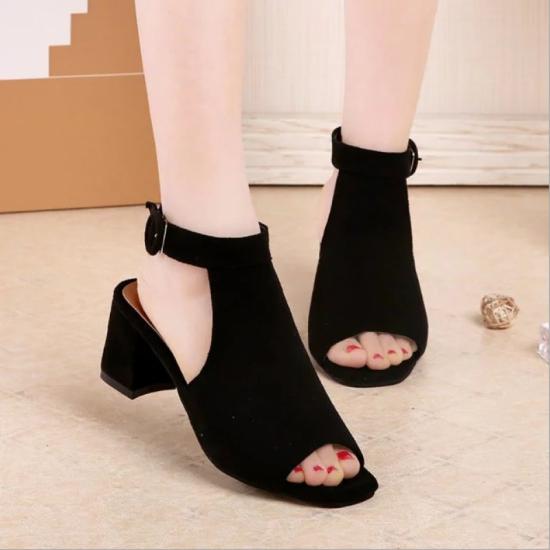 Rome Ladies Style Open Toe Buckle High Heel Sandals-Black image