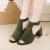 Rome Ladies Style Open Toe Buckle High Heel Sandals-Green