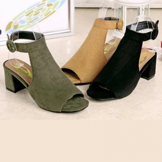 Rome Ladies Style Open Toe Buckle High Heel Sandals-Green image