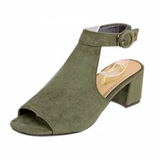 Rome Ladies Style Open Toe Buckle High Heel Sandals-Green image