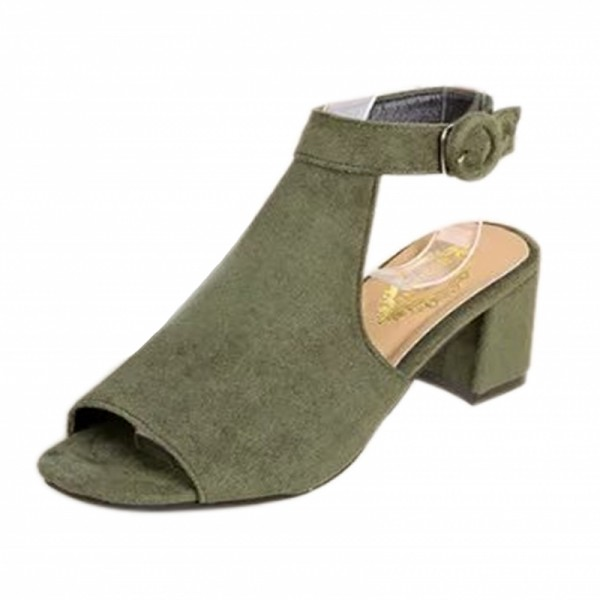 Women Roman Style Fish Mouth Buckle Heel Green Sandals image