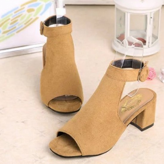 Rome Ladies Style Open Toe Buckle High Heel Sandals-Brown image