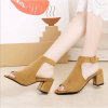 Women Roman Style Fish Mouth Buckle Heel Brown Sandals image