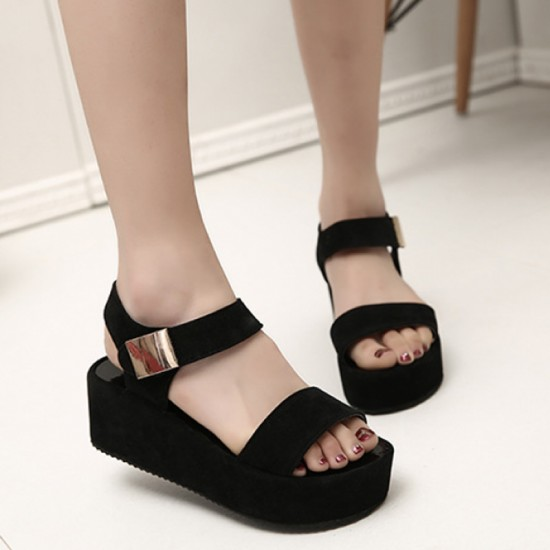 Women Fish Mouth Summer High Heeled Wedge Sandals-Black image