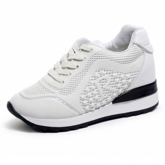 Women Breathable High Slope Running Sports Shoes-White image