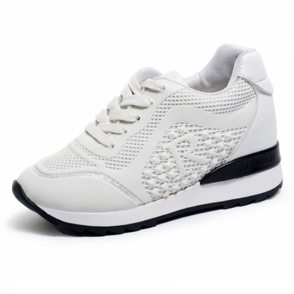 Women Breathable High Slope Running Sports White Shoes image