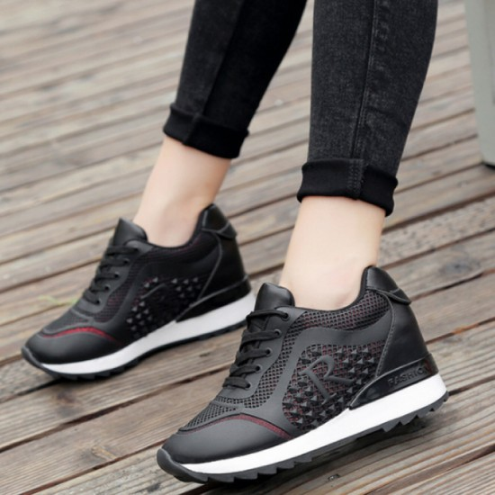 Women Breathable High Slope Running Sports Shoes-Black image