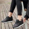 Women Breathable High Slope Running Sports Black Shoes image