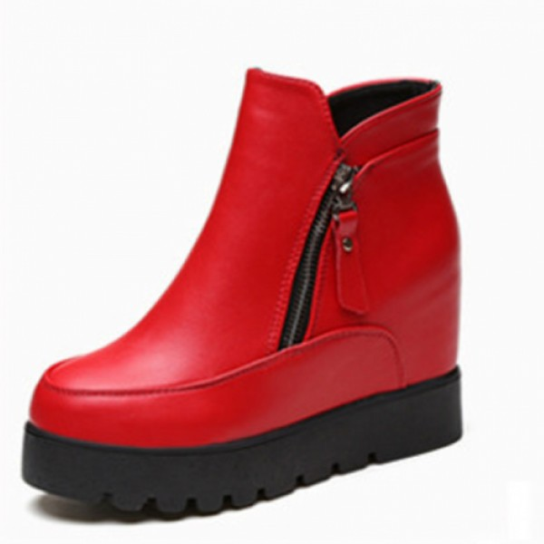 Latest Cashmere Leather Women Thick Bottoms Winter Red Boots image