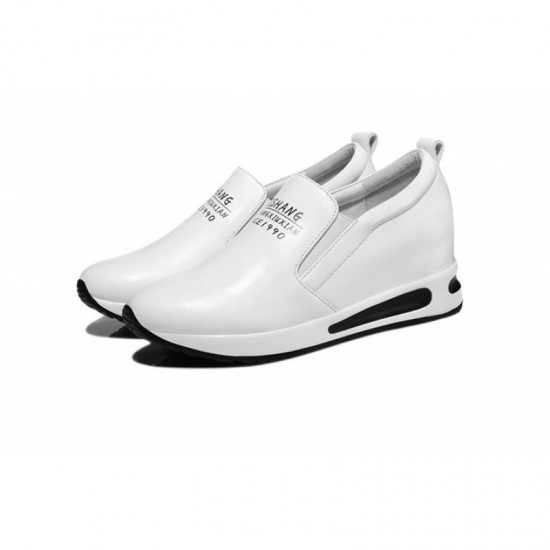 Women Thick Slope Bottom Leather Sports Running Shoes-White image