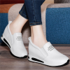 Women Thick Slope Bottom Lazy Sports Running White Shoes image
