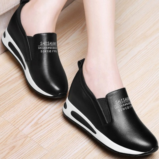 Women Thick Slope Bottom Leather Sports Running Shoes-Black image