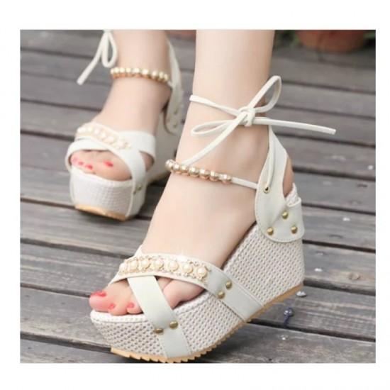 Women Fashion Thick Crust High Wedge Sandals-Cream image