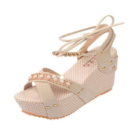 Women Fashion Thick Crust High Wedge Sandals-Cream image