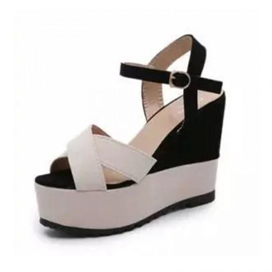 Women Cream & Black Color High Wedge Sandal-Black & Cream image