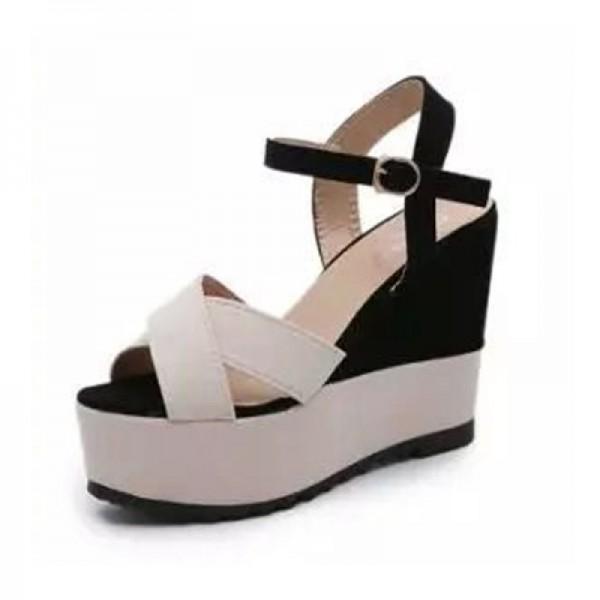 Women Fashion Cream & Black Color Wedge Sandal image