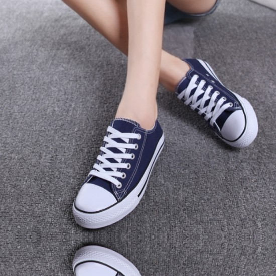 Women Blue Color Comfty Canvas Shoes For Women image