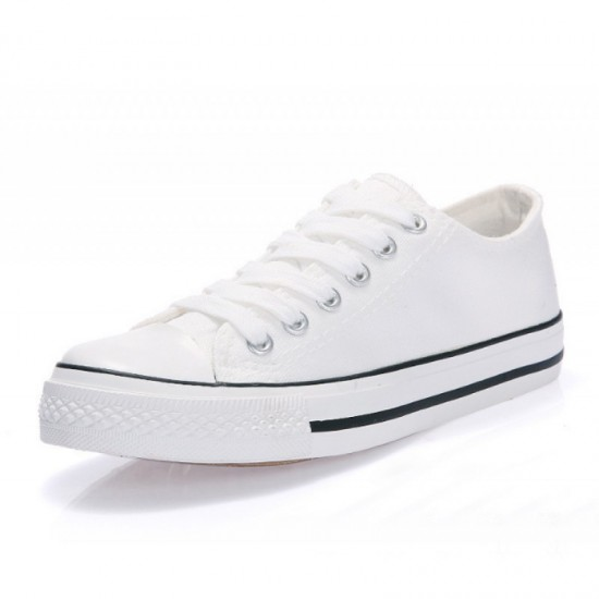 Women White Color With Black Lines Comfty Canvas Shoes For Women image