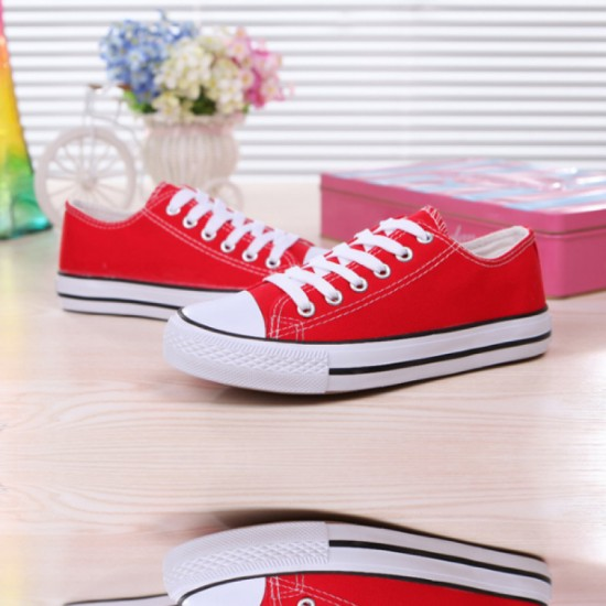 Women Red Color Comfty Canvas Shoes For Women image