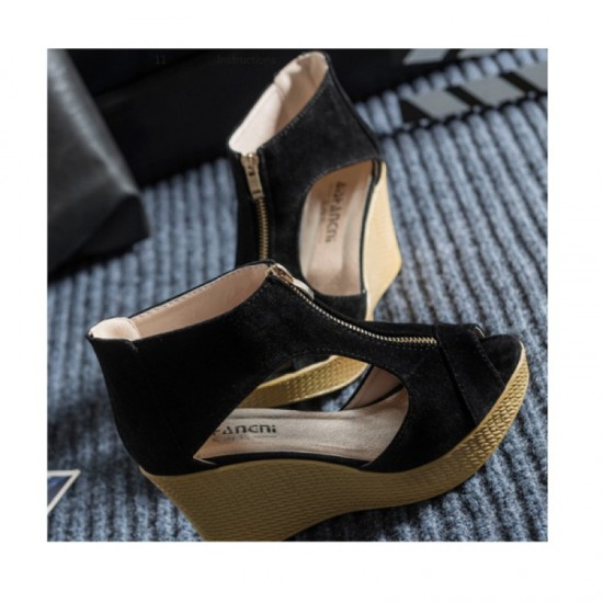 Suede Leather High Wedge Zipper Sandals For Women-Black image