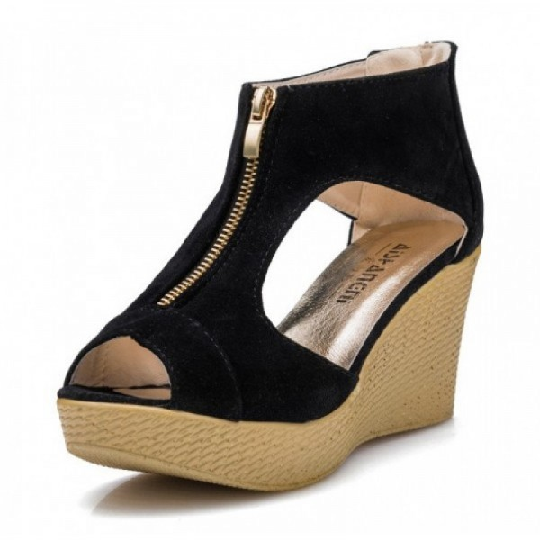 Black Color Suede Wedge Sandals For Women image
