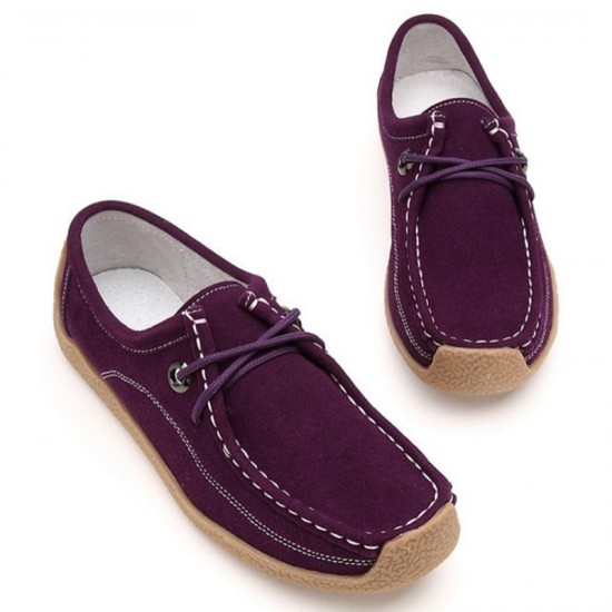 Women Purple Color Leather Snail Scrub Flat Shoes image