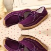 Women Purple Leather Snail Scrub Flat Shoes image