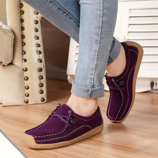 Women Leather Snail Scrub Casual Flat Shoes-Purple image