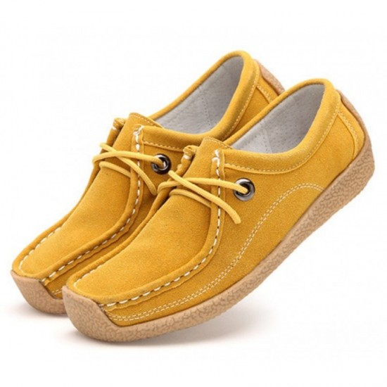 Women Leather Snail Scrub Casual Flat Shoes-Yellow image