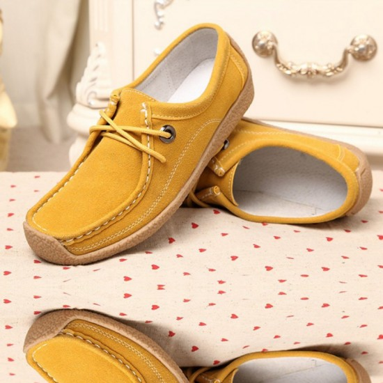 Women Yellow Color Leather Snail Scrub Flat Shoes image