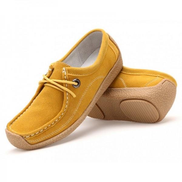 Women Yellow Leather Snail Scrub Flat Shoes image