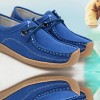 Women Blue Leather Snail Scrub Flat Shoes image